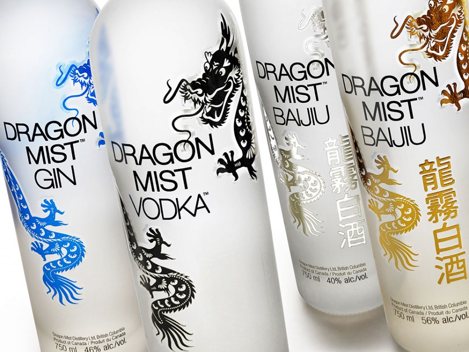 Package design for Dragon Mist Distillery premium bottles
