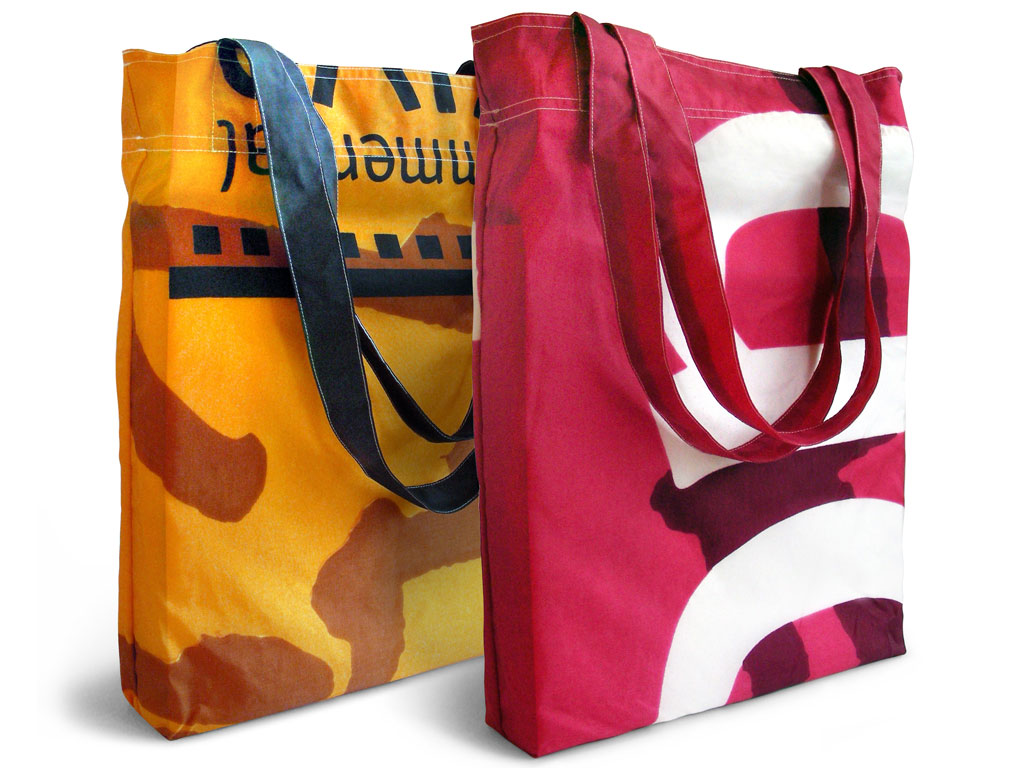 Reusable nylon shopping bags made from retired street banners