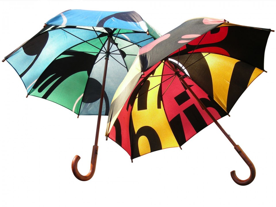 product development upcycing used street banners to umbrellas