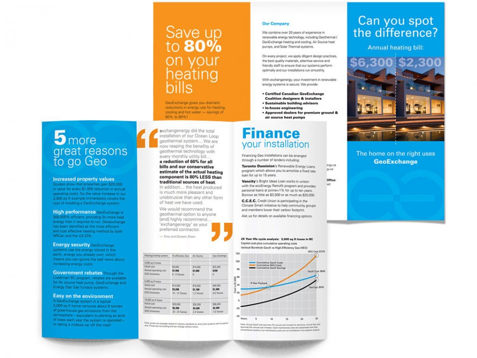 brand development, copy writing and USP refinement for Exchange Energy's marketing brochure