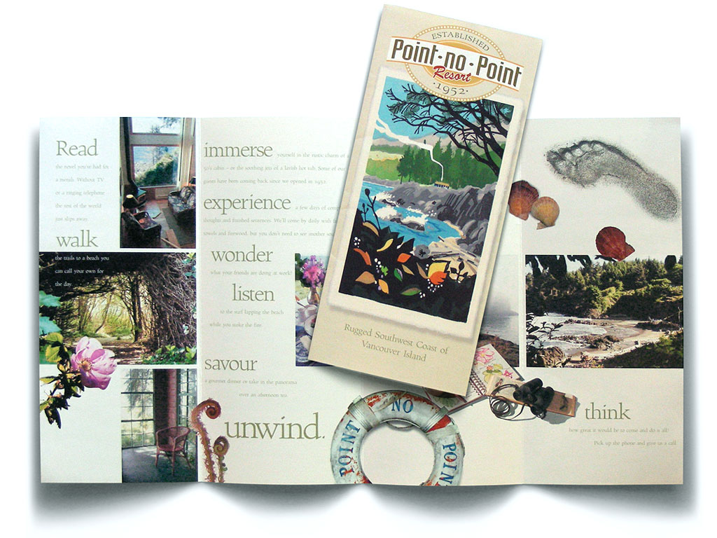 Point No Point resort marketing brochure focuses on experiences rather than amenities