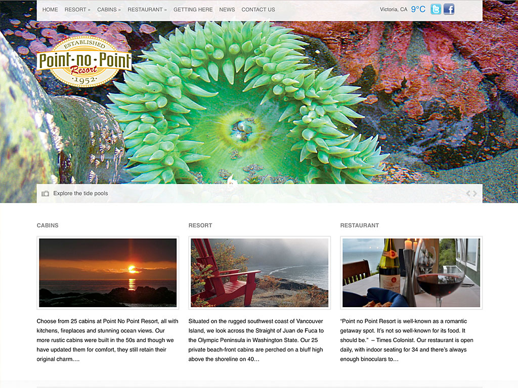 website for point no point resort, vancouver island, bc