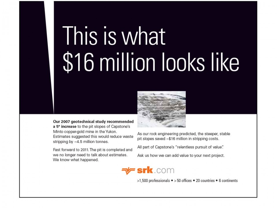 corporate communications trade publication advertising for SRK Consulting
