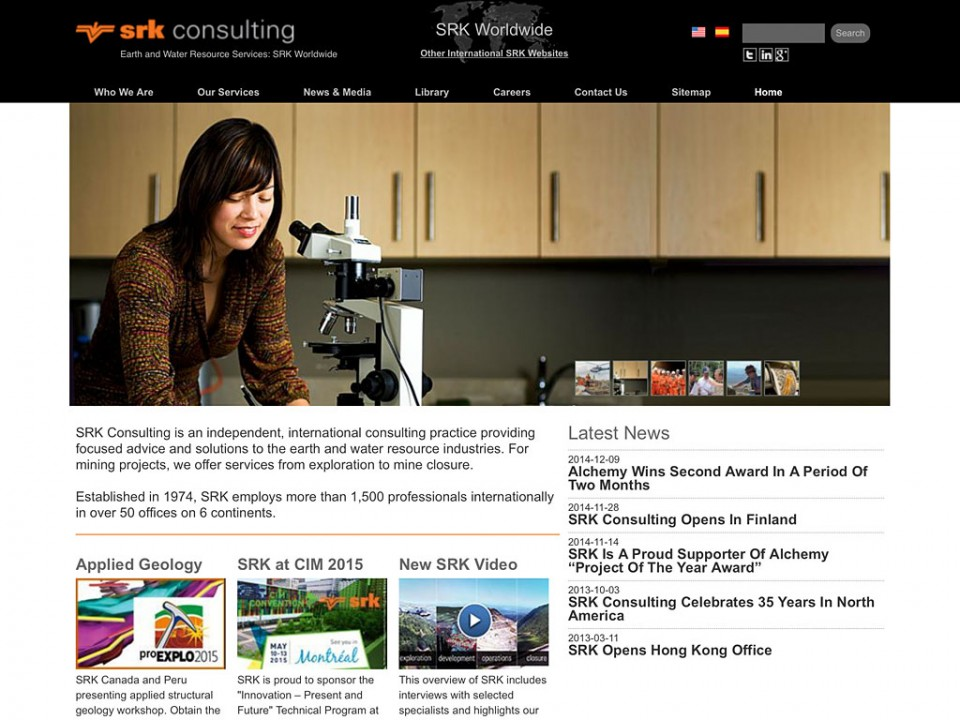 corporate communications global and regional websites for SRK Consulting