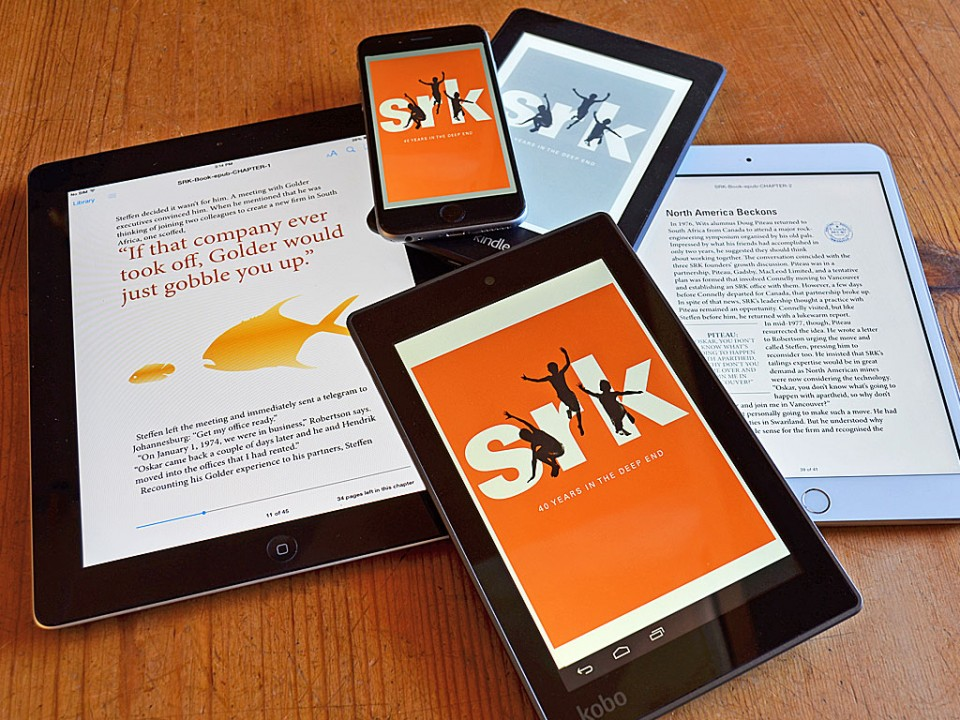 book design adapted to the epub version of SRK Consulting's 40 year history
