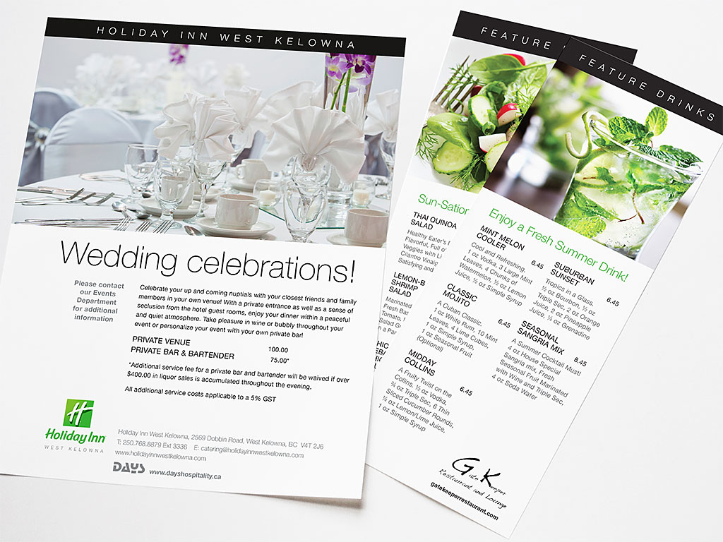 Days Hospitality print communications for Holiday Inn West Kelowna