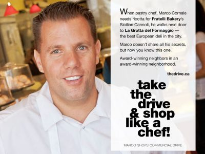 Marco Cornale in Commercial Drive ad for Fratelli's Bakery