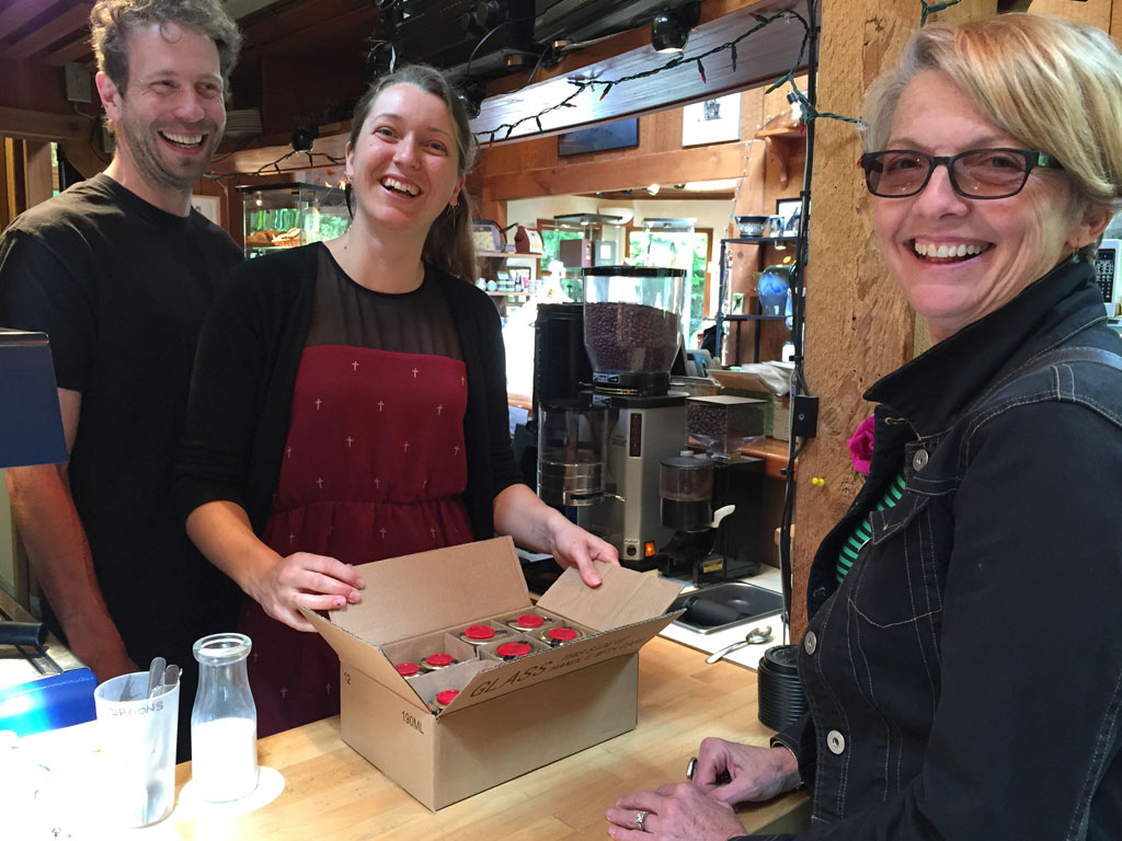 Queen B honey delivery to Solomon Rose Gallery Cafe on Galiano Island